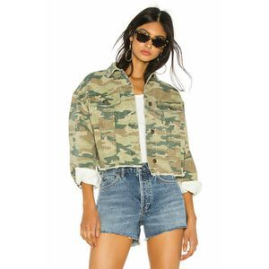 Free People Women Jacket Camouflage Cotton Green S